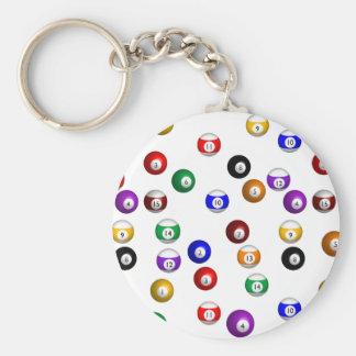 Pool Balls Basic Round Button Key Ring