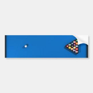 Pool Balls on Blue Felt Billiards Table: Bumper Sticker