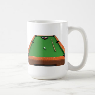 Pool Balls on Green Felt Billiards Table: Coffee Mug