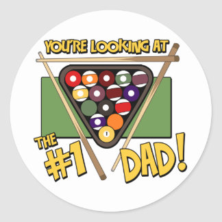 Pool/Billiards #1 Dad Father's Day Gift Round Sticker