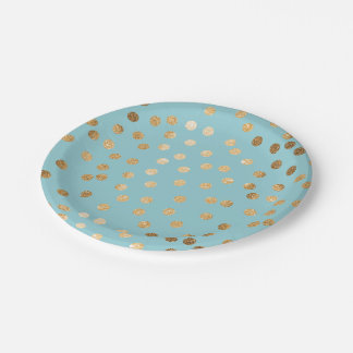 Pool Blue and Gold Glitter Dots Paper Plate