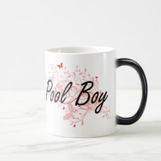 Pool Boy Artistic Job Design with Butterflies Magic Mug