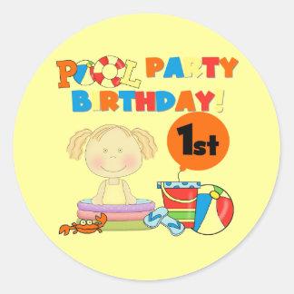 Pool Party 1st Birthday Sticker