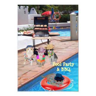 Pool Party & BBQ 9 Cm X 13 Cm Invitation Card
