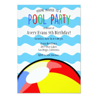 Pool Party Beach Ball Birthday Invitation