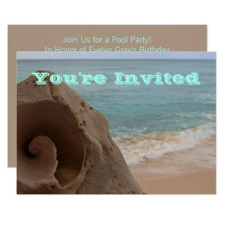 Pool Party | Beach Theme Birthday Seashell Card