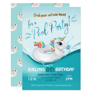 Pool Party Birthday Celebration Invitation