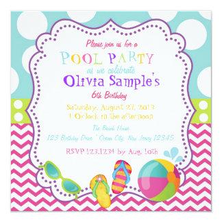"Pool Party Birthday Invitation 5.25"" Square Invitation Card"