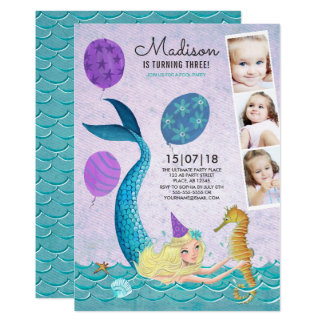 Pool Party Birthday | Mermaid | Invitations