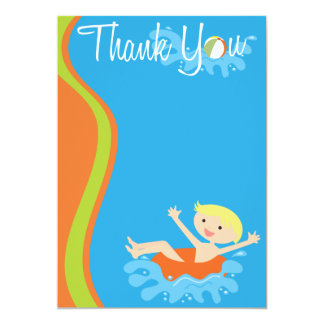 Pool Party Blonde Boy Thank You Card