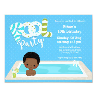 Pool party * choose background color 11 cm x 14 cm invitation card