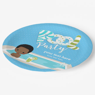 Pool party * choose background party 9 inch paper plate