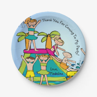 Pool Party Customized Thanks Birthday Paper Plate