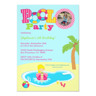 Pool party girls photo birthday party invitation