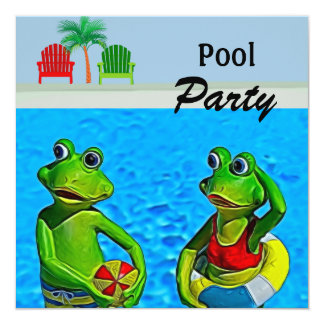 Pool Party Invitation with Fun Frogs