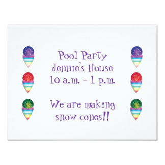 Pool Party invitation with snow cones