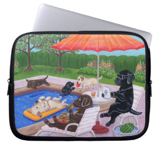 Pool Party Labradors 2 Laptop Sleeve