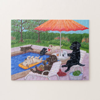 Pool Party Labradors 2 Painting Jigsaw Puzzle