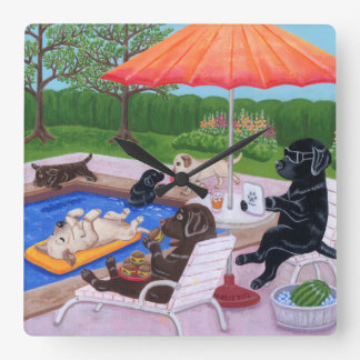 Pool Party Labradors 2 Painting Square Wall Clock