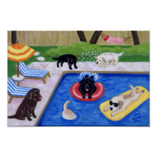 Pool Party Labradors (new) Artwork Poster