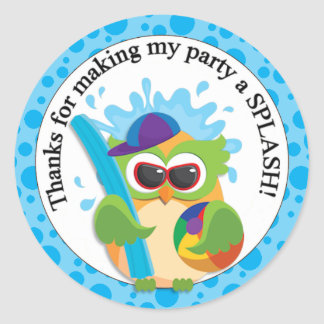 Pool Party Owl Thank You Classic Round Sticker