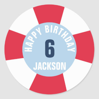 Pool Party Red Inflatable Ring Happy Birthday Classic Round Sticker