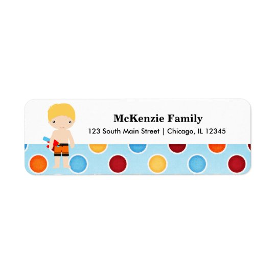 Pool Party Return Address Label