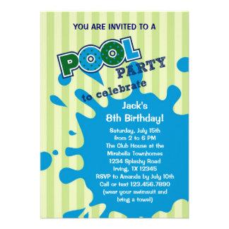 Pool Party Summer Birthday Invitation