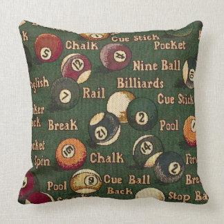 Pool Shark Billiard Balls Background Throw Pillow