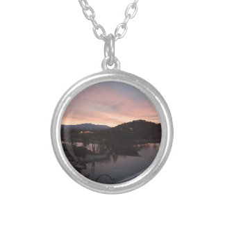 Pool Side Sunrise Silver Plated Necklace