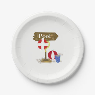 Pool Sign Paper Plate