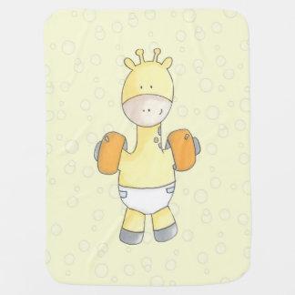 Pool Time Fun With Baby Giraffe Baby Blanket