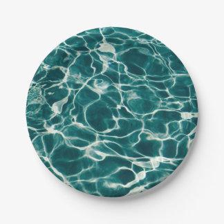Pool water pattern paper plate