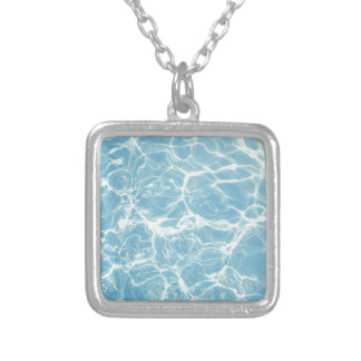Pool Water, Pool, Swim, Summer Silver Plated Necklace