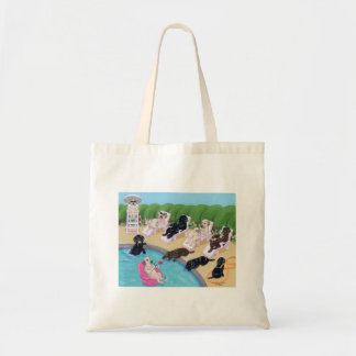 Poolside Party Labradors Painting Tote Bag