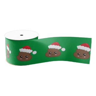 Poop Emoji Christmas Santa Grosgrain Ribbon
