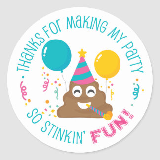 Poop Emoji Funny Birthday Party Thank You Stickers