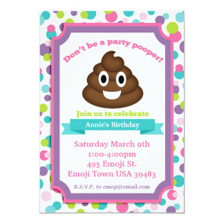 Poop Emoji Girl Birthday Invitation