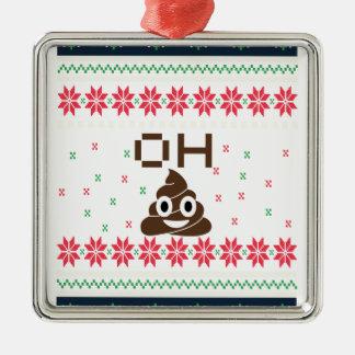Poop emoji metal ornament