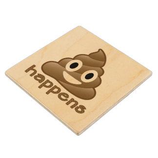 Poop Happens Emoji Maple Wood Coaster