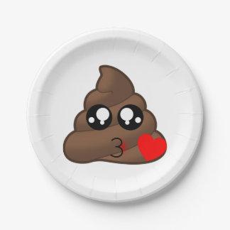 Poop Heart Love Emoji 7 Inch Paper Plate