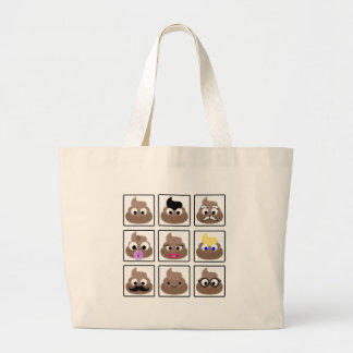 Poop Many Faces Large Tote Bag