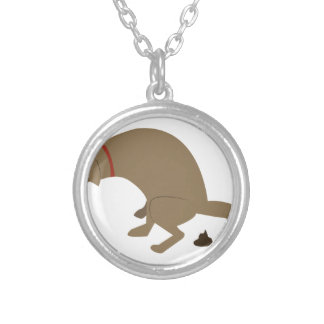 Pooping Dog Round Pendant Necklace