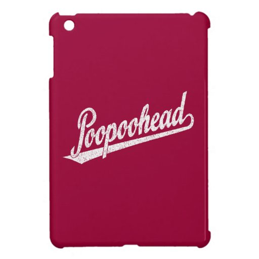 Poopoohead Script Logo in Distressed White iPad Mini Cover