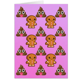 Poopy Emoji and Gingerbread man Birthday card