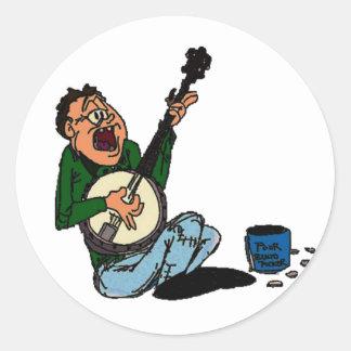 Poor Banjo Picker Round Sticker