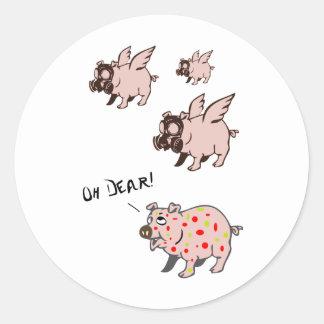 Poor Little Piggy Round Sticker