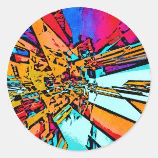 Pop Art Abstract Classic Round Sticker