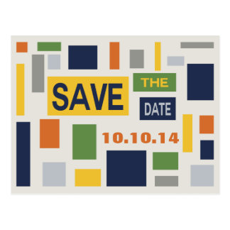 Pop Art Abstract Save The Date Postcard - Blue