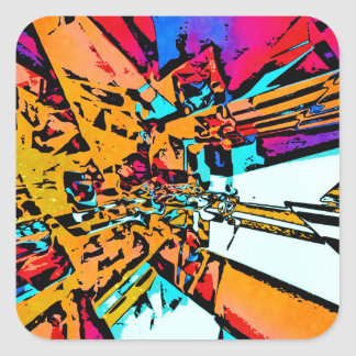 Pop Art Abstract Square Sticker